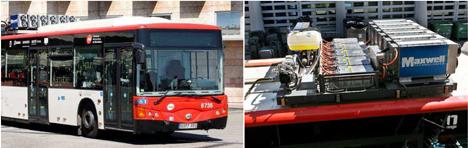 El autobús diesel reconvertido en híbrido dentro del proyecto Retrofit. En la derecha, detalle de los condensadores eléctricos situados en el techo