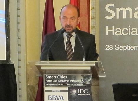 Miguel Ángel Villanueva González, Delegado del Área de Gobierno, de Economía, Empleo y Participación Ciudadana del Ayuntamiento de Madrid en la Jornada Smart Cities de IDC