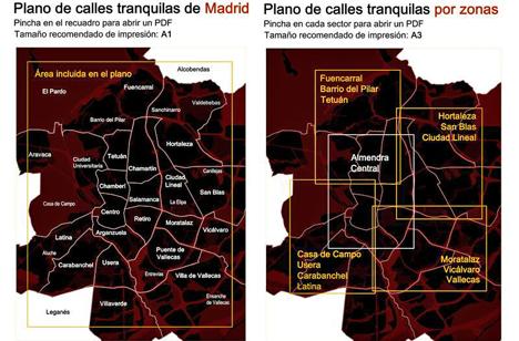 Plano de calles tranquilas de Madrid