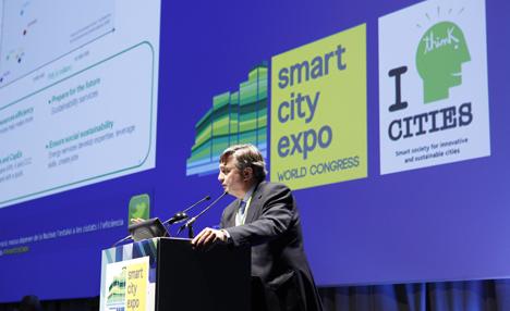 Enrique Valer durante su intervención en la Smart City Expo World Congress