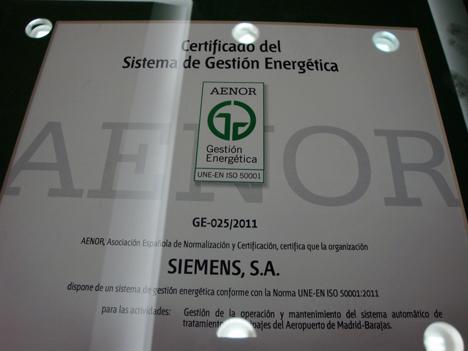 Cerificado AENOR del sistema de gestion energetica