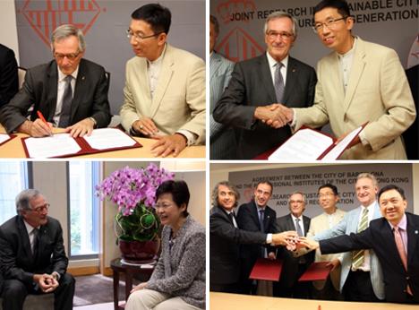 Autoridades de Barcelona y Hong Kong en el momento del acuerdo