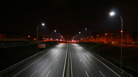 Ilimunación LED de Philips en una carretera de Madrid