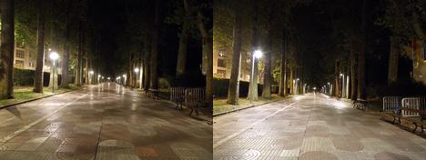 Paseo de la Senda de Vitoria, a la izquierda imagen con el anterior alumbrado, a la derecha fotografía del actual alumbrado LED.
