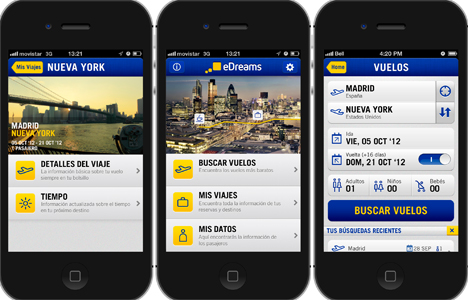 Aplicación para iPhone de eDreams.