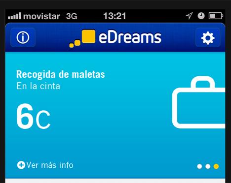 Aplicación para iPhone de eDreams con función de información sobre recogida de maletas.