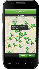 Aplicación de Avancar para la reserva y localización de vehículos.