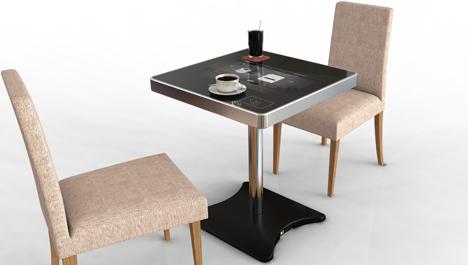 Mesa táctil para restaurantes de Moneual.