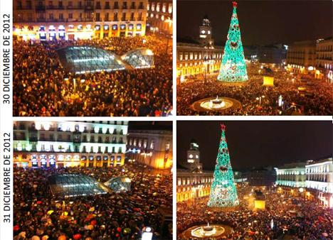 Puerta del Sol de Madrid durante la Nochevieja de 2012 y el ensayo realizado con pavimento inteligente.