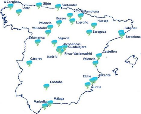Plano de las ciudades por las que pasará el proyecto.