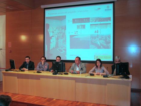 De izquierda a derecha: Carlos Alberto Martin, de UPM-G@TV; Francisco Fraile, de la UPV; David López, de Ericsson España; Alfredo Villalba, de Inmomática; Iris Galloso, del CeDInt, y Jordi Alonso, de Eumovil (Mediapro)