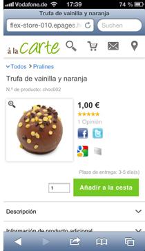 Vista de detalle del producto en la tienda online de Strato