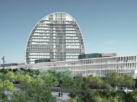 Vista panorámica de la nueva sede del BBVA en Las Tablas (Madrid).