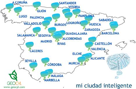 Mapa de las ciudades que va a visitar el proyecto Mi Ciudad Inteligente de GeoCyL