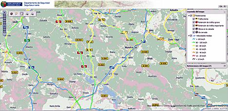 Pantalla del sistema de control de tráfico de Euskadi