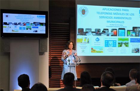 Ana Botella, Alcaldesa de Madrid, durante el acto de presentación de las Aplicaciones.