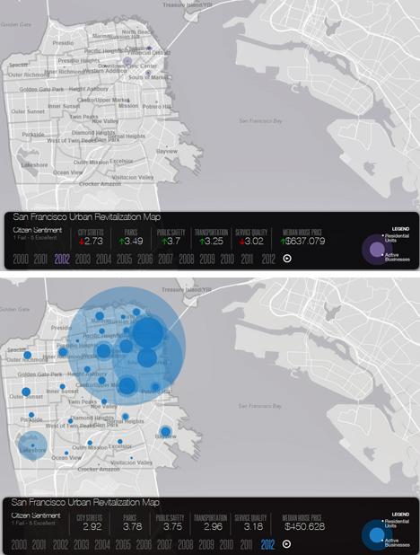 Mapa comparativo con la evolución de la ciudad en los últimos años
