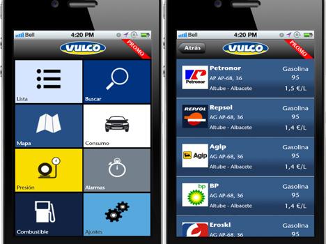 Pantallazos de la aplicación de Vulco.