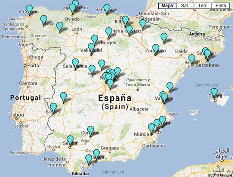 Mapa de municipios que componen la RECI