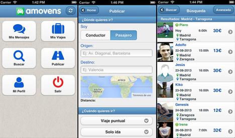 Aplicación para iPhone de Amovens