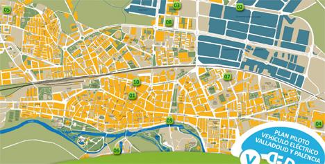 Mapa de puntos de recarga para vehículo eléctrico ubicados en Palencia