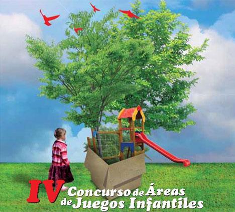 Cartel del concurso para zonas de juego infantiles.