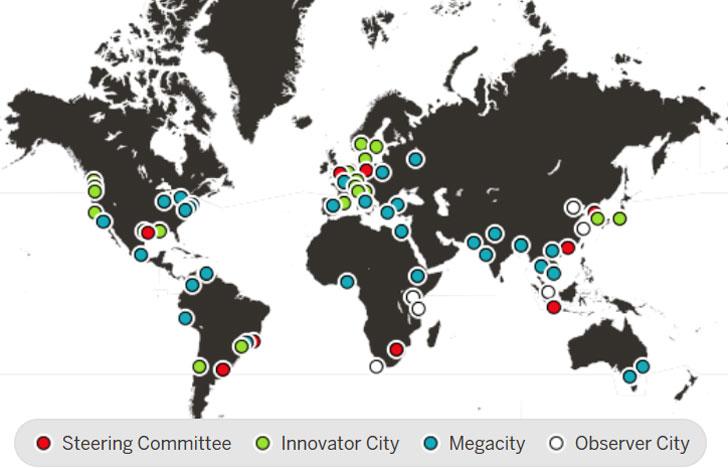 C40 mapa de ciudades miembro