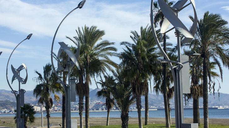 Farolas de viento y sol de Málaga