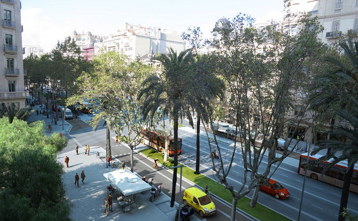 Proyección calle de Barcelona