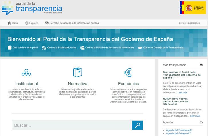 Pantallazo del Portal de la Transparencia