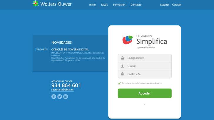 """Pantallazo de la herramienta """"El Consultor Simplifica""""."""