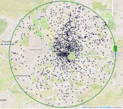 Mapa demástilesantenas en la ciudad de Madrid.