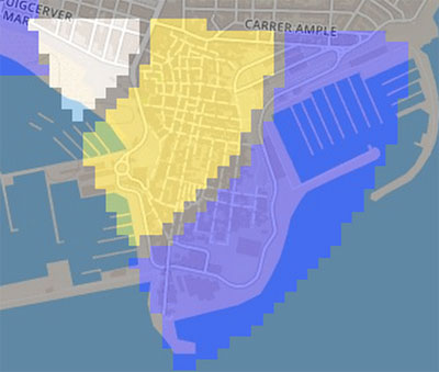 Representación de la distribución del tráfico dentro de la cobertura de la antena.