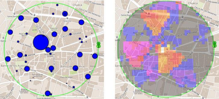 representación del tráficode personasen el centro de Madrid (20de septiembre 2014 a las 12h)usando círculoscon tamaño proporcionalal número de personas.YFigura6.Representación del tráficode personasen el centrode Madrid (20de septiembre 2014 a las 12 horas) usando un mapa de calora partirdel número de personas detectadas en las antenas y la ubicación de suscoberturas.