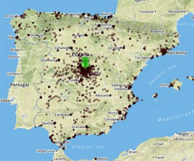 representación de las zonas de procedencia de los usuarios localizados en laanteriorzona de estudio en el centro de Madrid (20de septiembre 2014 a las 12 horas).
