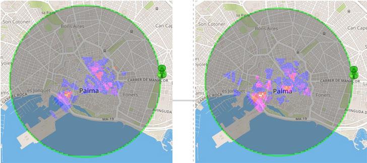 Representación enun mapa de calor de los turistas franceses en Palma de Mallorca(15 de agosto de 2014 a las 12 y 21 horas).