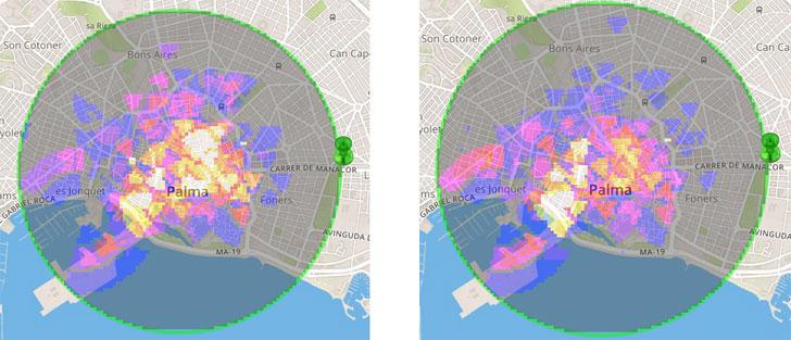 Representación enun mapa de calor de los turistas alemanes en Palma de Mallorca(15 de agosto de 2014 a las 12 y 21 horas)