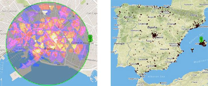 Izquierda: Representación enun mapa de calor de los turistas nacionales en Palma de Mallorca el15 de agosto de 2014 a las 12 horas,derecha: procedencia de los turistas presentes a las 12h del citado día.