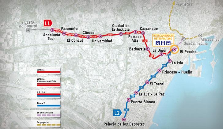 Plano del Metro de Málaga