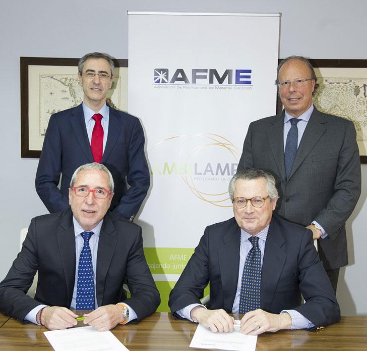 Acuerdo entre AMBILAMP y AFME para la recogida de los RAEE
