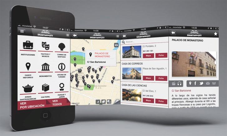 Ejemplo pantallas App SmartAppCity para información turística.