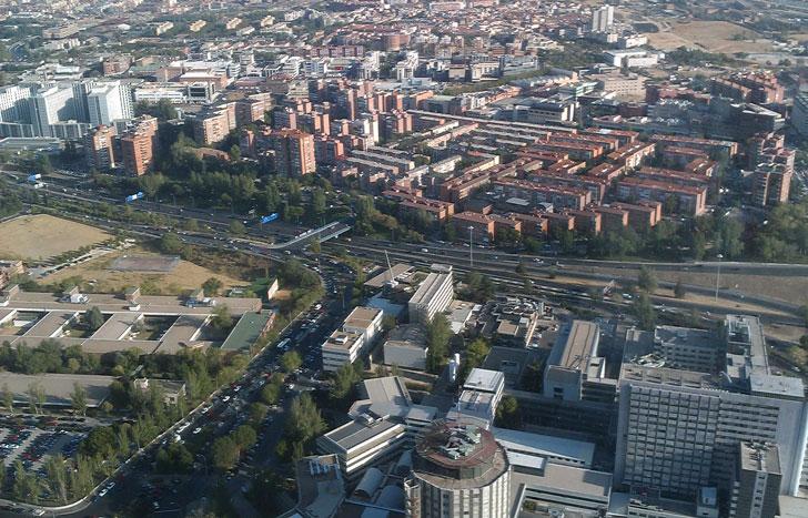 Vista aérea de la ciudad de Madrid