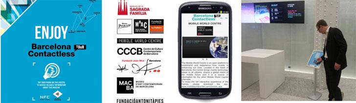 """Fotos de la """"NFC experience"""" en sitios turísticos en Barcelona."""