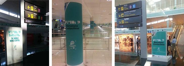 """Fotos de la """"NFC experience"""" en el aeropuerto El Prat en Barcelona."""