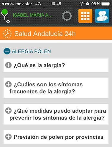 Pantallazo de la aplicación Salud Responde de la Junta de Andalucía