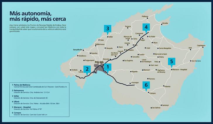 Mapa de la isla de Mallorca con puntos de recarga