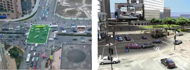 Representación de tratamiento de eventos en un cruce desde análisis inteligente de vídeo (izquierda) y captura real (derecha): una colisión provoca un atasco, las cámaras sobre las farolas detectan la situación y envían las alarmas adecuadas al puesto de control. El operador toma las decisiones de manera rápida.
