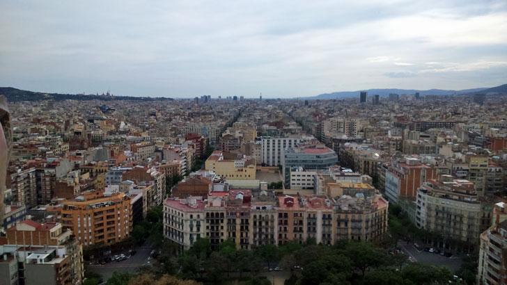 Ciudad de Barcelona vista aérea