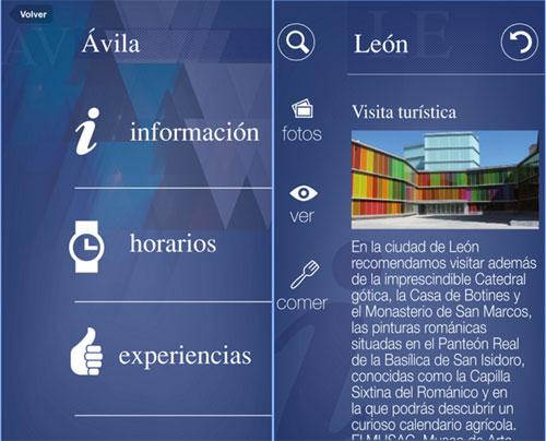 Captura de pantalla de la aplicación de Castilla la Mancha