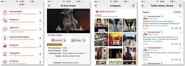 Capturas de aplicación de Semana Santa de Sevilla